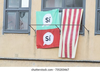 Flags with voting yes for elections in Catalonia Spain