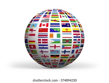 Flags of the world. High quality render. Isolated on white. Clipping path is included.