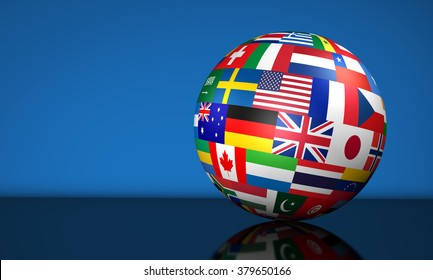 Global flags images stock photos vectors shutterstock flags of the world on a globe for international business school travel services and freerunsca Image collections
