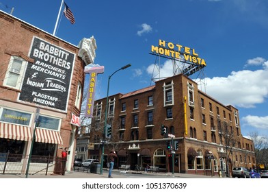 Flagstaff, Arizona - March 25, 2017:  The 1927 Hotel Monte Vista and the 1888 Babbitt Brothers store are landmarks in Flagstaff, Arizona's historic downtown district.