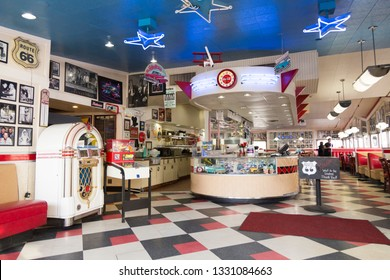 Flagstaff, Arizona, USA, February 25, 2019 - View of the interior of the famous vintage 1952 Galaxy Diner on route 66