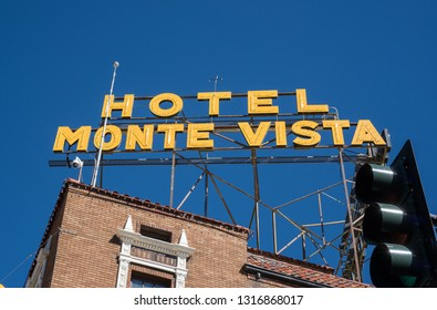 Flagstaff, Arizona / USA - October 15, 2017: Historic Hotel Monte Vista sign from the street corner