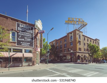 FLAGSTAFF, ARIZONA, USA - SEPTEMBER 19, 2016: Beautiful view of the historic city center of Flagstaff with famous Hotel Monte Vista on a sunny day with blue sky on September 19, 2016, Arizona, USA.