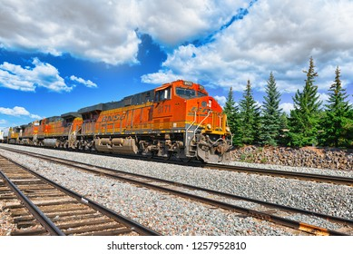 Flagstaff, Arizona, USA - September 22, 2018:  Freight train BNSF Railway Companies on a sunny day in Arizona.