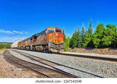 Flagstaff, Arizona, USA - September 22, 2018:  Freight train BNSF Railway Companies on a sunny day in Arizona.