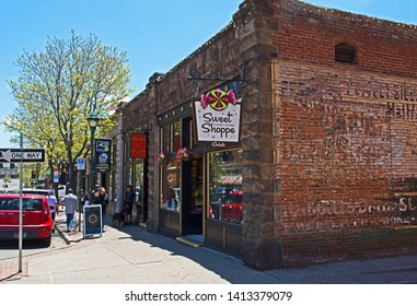 Flagstaff, Arizona/USA - June 1 2019: located in the center of Flagstaff, a traditional sweet shop caters to shoppers and tourists alike.