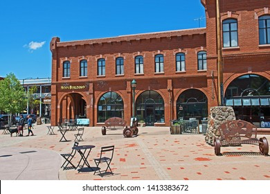 Flagstaff, Arizona/USA - June 1 2019: the Hopi Building, owned by the Hopi Tribe is situated on one side of Heritage Square in downtown Flagstaff.