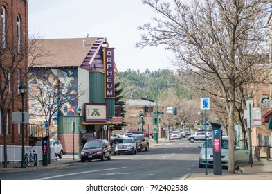 FLAGSTAFF, ARIZONA,USA-NOVEMBER 13, 2017: View of Aspen, Avenue in a winter sunny day with the Orpheum Theater in Flagstaff, Arizona