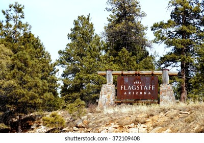 FLAGSTAFF, AZ -14 FEBRUARY 2014- Road sign welcoming visitors to Flagstaff in Arizona on Interstate highway 40.