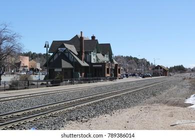 FLAGSTAFF, AZ - AUGUST 10: The Amtrak  passenger commuter railway station building on August 10, 2017 in downtown Flagstaff, Arizona USA.