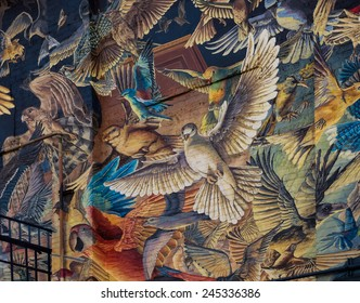 Flagstaff, AZ - January 11, 2015: Mural on the side of the historic Orpheum Theater, one of Flagstaff, Arizona's famous landmarks. The public mural was painted by Sky Black and Mural Mice.