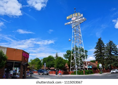 Flagstaff, AZ - July 23, 2017: Neon Sign of the Downtowner Motel, one of the old former hotels along Route 66 in historic downtown Flagstaff.
