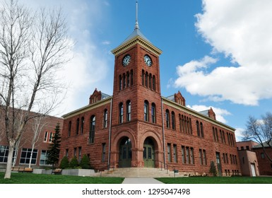 Flagstaff, AZ - March 25, 2017: The Coconino County Courthouse in Flagstaff, Arizona was built in 1894. The historic Richardsonian Romanesque-style structure is made of sandstone.