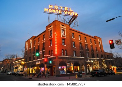 FLAGSTAFF, AZ / USA - DECEMBER 14 2010: The historic Hotel Monte Vista, built in 1927, on S San Francisco St and Aspen Ave in downtown Flagstaff, at dusk