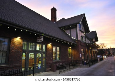 FLAGSTAFF, AZ / USA - DECEMBER 14 2010: The Flagstaff Amtrak station on historic Route 66 at the end of N Leroux St in downtown Flagstaff was formerly an Atchison, Topeka and Santa Fe Railway depot.