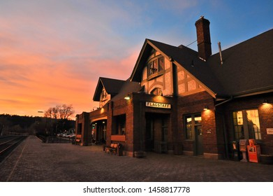 FLAGSTAFF, AZ / USA - DECEMBER 14 2010: The  Flagstaff Amtrak station on Route 66 at the end of N Leroux St in downtown Flagstaff, after sunset