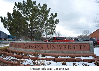 FLAGSTAFF, AZ / USA - DECEMBER 17 2010:  The stone sign at the north side of the Northern Arizona University campus.