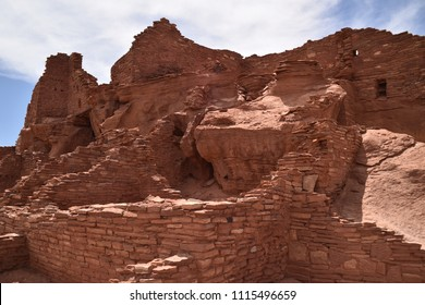 Flagstaff, AZ., U.S.A. June 5, 2018. Wupatki ruins of the Wupatki National Monument. Built circa 1040 to 1100 A.D. by the  Sinagua.  Approximately 100 people called Wupatki home by 1100 A.D.