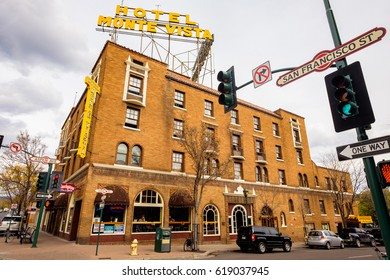 Flagstaff, AZ USA - October 24, 2016: Cityscape view of the vintage red brick architecture of the historic Hotel Monte Vista in the downtown area.