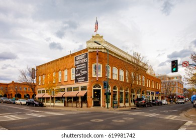 Flagstaff, AZ USA - October 24, 2016: Cityscape view of the historic downtown area with vintage architecture.