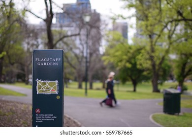 Flagstaff garden with couple background in Melbourne, Australia