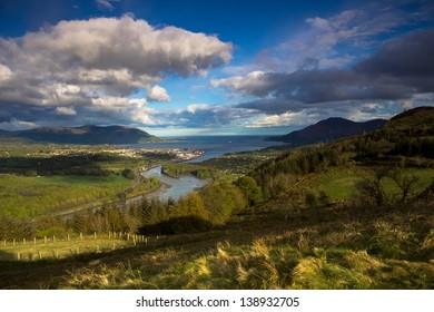 FLAGSTAFF POST- NORTHERN IRELAND: A popular view point near Warrenpoint Town. This shot looks out towards the Mourne and Cooley Mountains as well as Carlingford Lough