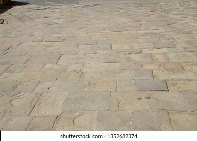 Flagstone pavement of Fortezza Nuova, Livorno, Italy
