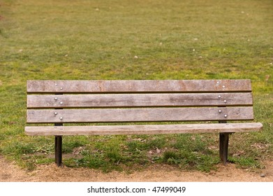 Flaked park bench