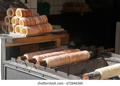 Flaky cinnamin pastries for ice cream,  Prague, Czech Republic