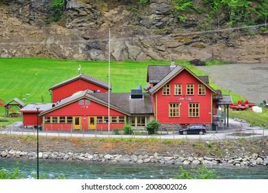 Flam, Norway, 18.06.2018, Wooden school in Flam Village in Sognefjorden Western Norway. Flam school (Flam skule) is situated in Skaftåkrane, close to Heimdal.