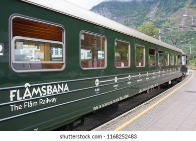 Flam, Norway - 24 July, 2017: The train is next on the route of Flam - Myrdal. The Flamsbana Railway.