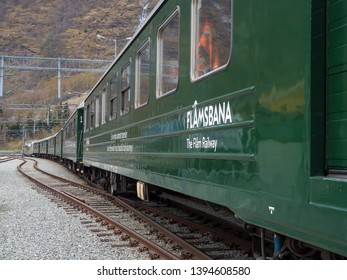 Flam, Norway - Apr 20th, 2019: Flam station in Flam. The Flåm Line is a 20.2-kilometer long railway line between Myrdal and Flåm in Aurland, Norway.