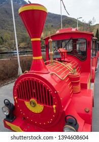 Flam, Norway - Apr 20th, 2019: Shutter service in train for tourist at Flam, Norway