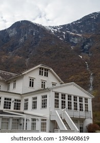 Flam, Norway - Apr 20th, 2019:Fretheim Hotel is one the popular hotel for visitor in Flam, Norway