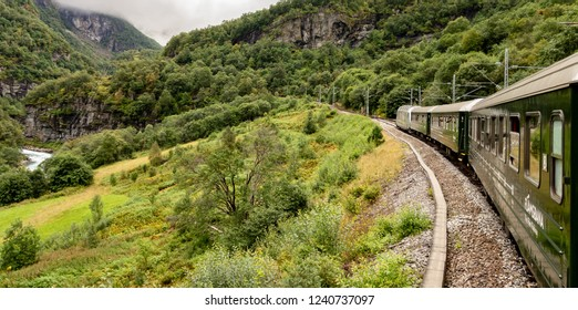 FLAM, NORWAY - AUGUST 14, 2016: Famous Flamsbana railroad track and train in Norway connecting Flam city and Myrdal station with beautiful views on the Norwegian landscape