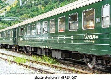Flam, Norway - August 7, 2017: View of Flamsbana or The Flam Line, a railway line between Myrdal and Flam.