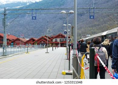 FLAM, NORWAY - CIRCA MAY 2018: Myrdal, railroad station, Norwegian Flam Railway Mountain train. Sogn og Fjordane, Norway.  Terminal of the Flam Line local railway