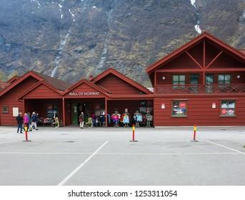 FLAM, NORWAY - CIRCA MAY 2018: Myrdal Station, Norwegian Flam Railway Mountain train  Sogn og Fjordane, Norway.  Terminal of the Flam Line local railway