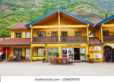 FLAM, NORWAY - JULY 26, 2017: Souvenir store at the centre of Flam village. Flam is a village at the Aurlandsfjord a branch of Sognefjord, Norway.