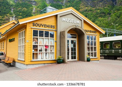 FLAM, NORWAY - JULY 26, 2017: Flam Museum. Flam is a village in Flamsdalen, at the Aurlandsfjord a branch of Sognefjord, municipality of Aurland, Norway.