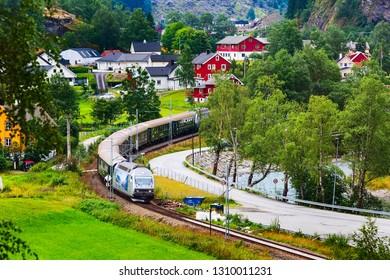 Flam, Norway - July 31, 2018: Flamsbana train aerial view in Norwegian village