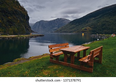 Flam, Norway / Norway - September 2017:  Autumn day on the shore of the Flam fjord.