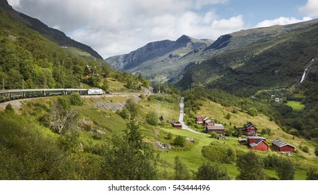 Flam railway landscape. Norwegian tourism highlight. Norway landmark. Horizontal