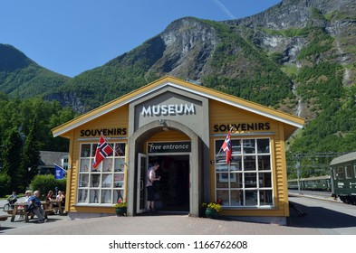 Flam railway museum.Station old Flam Railway. The Flamsbana is a 20.2-kilometer long railway line between Myrdal and Flam in Aurland, June 17,2018. Flam, Norway, Scandinavia.