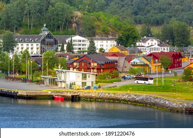 Flam, Scandinavia, Norway aerial town summer view