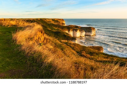 Flamborough, Yorkshire, UK. Sea and environmental erosion on chalk cliffs flanked by grasses at dawn at Flamborough Head, Yorkshire, UK.