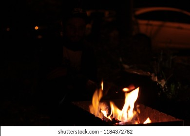 flame from the barbecue
