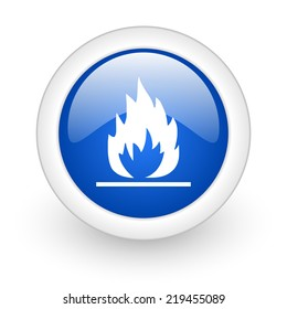 flame blue glossy icon on white background