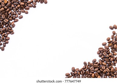 flame with coffee beans on white background