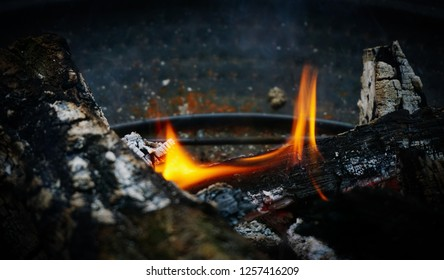 The flame of fire burns in the brazier. Flames of fire, smoldering firewood and ashes lie on the metal